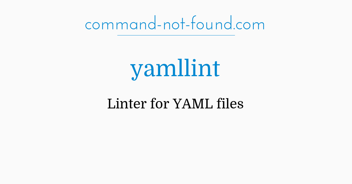 command-not-found com – yamllint